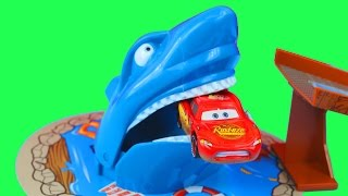 Disney Pixar Cars Maisto Shark Jump Set Lightning McQueen gets eaten by a Shark Hotwheels Mater