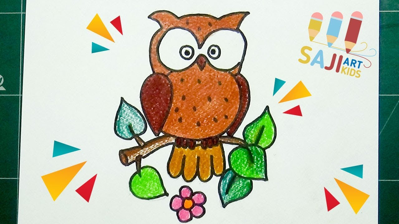 วาดร ประบายส ไม สวยๆ วาดร ปนกฮ กง ายๆ How To Draw A Cute Owl Step By