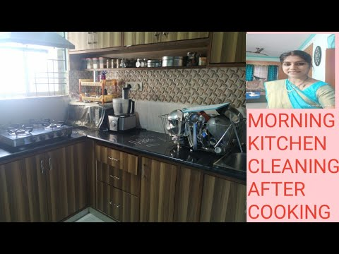 Morning kitchen cleaning/ Gas stove cleaning after cooking/telugu vlogs in Bangalore/telugu vlogs