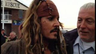 Meeting Johnny Depp as Captain Jack Sparrow  POTC5 Raby Bay Qld. 3/6/15