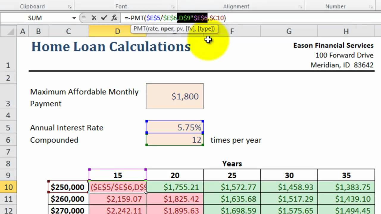 Excel 2010 PMT( ) Function - YouTube