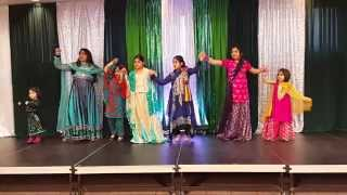 Kids performing dance on folk music with colorful dresses on Pakistan Day celebration in Ajax