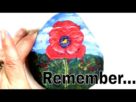 Beginners Rock Painting Tutorial - Single Red Poppy - Remembrance Day