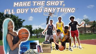 Make the Shot, Ill Buy You Anything Challenge!!