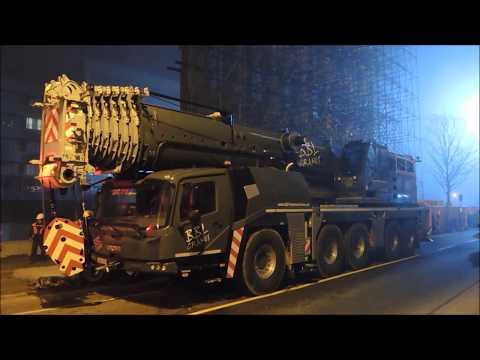 Montage Turmdrehkran BBL - Cranes AK 150 -8 mit Grove Mobilkran