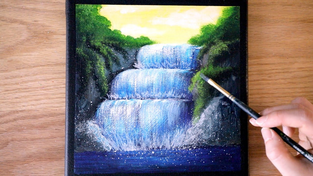 Easy Waterfall Painting Black Canvas Painting Acrylic Painting For Beginners 81 Youtube