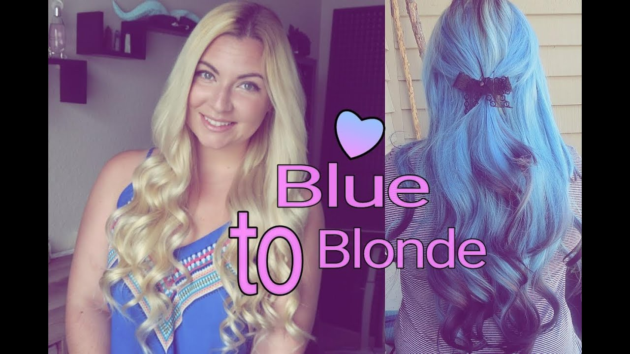 Remove blue hair dye blue to blonde hair youtube remove blue hair dye blue to blonde hair urmus Choice Image