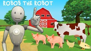 Robot Cartoon For Kids with Robob The Robot at The Family Balloon Farm | Learn English with Robots