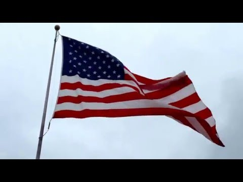 UNITED STATES OF AMERICA FLAG ON HIGH WIND