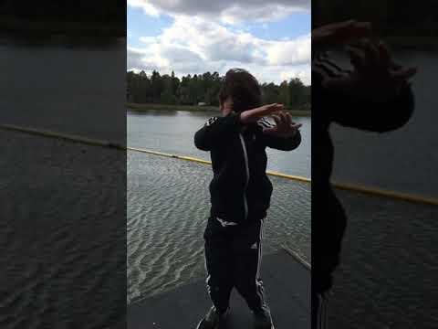 Weird asian boy dance in the weather