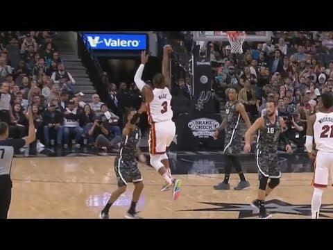 Wade Halfcourt 3! Heat Snap Spurs 9 Game Streak! 2018-19 NBA Season thumbnail