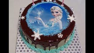 Оформление торта БМК ,зеркальной глазурью и сахарной картинкой.