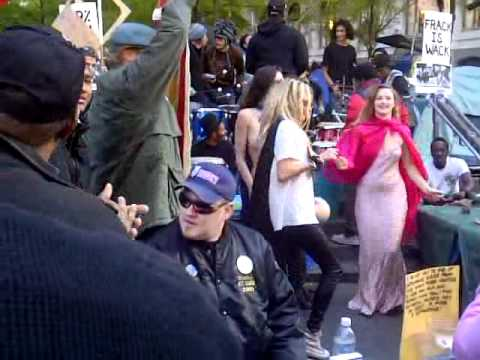 Occupy WallStreet Protester Dancing in Peace