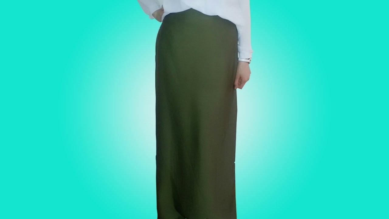 6481b05a6 طريقة تفصيل وخياطة تنورة طويلة - YouTube