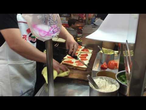 Taiwan Street food making-charbroiled pork sandwich in Keelung night market