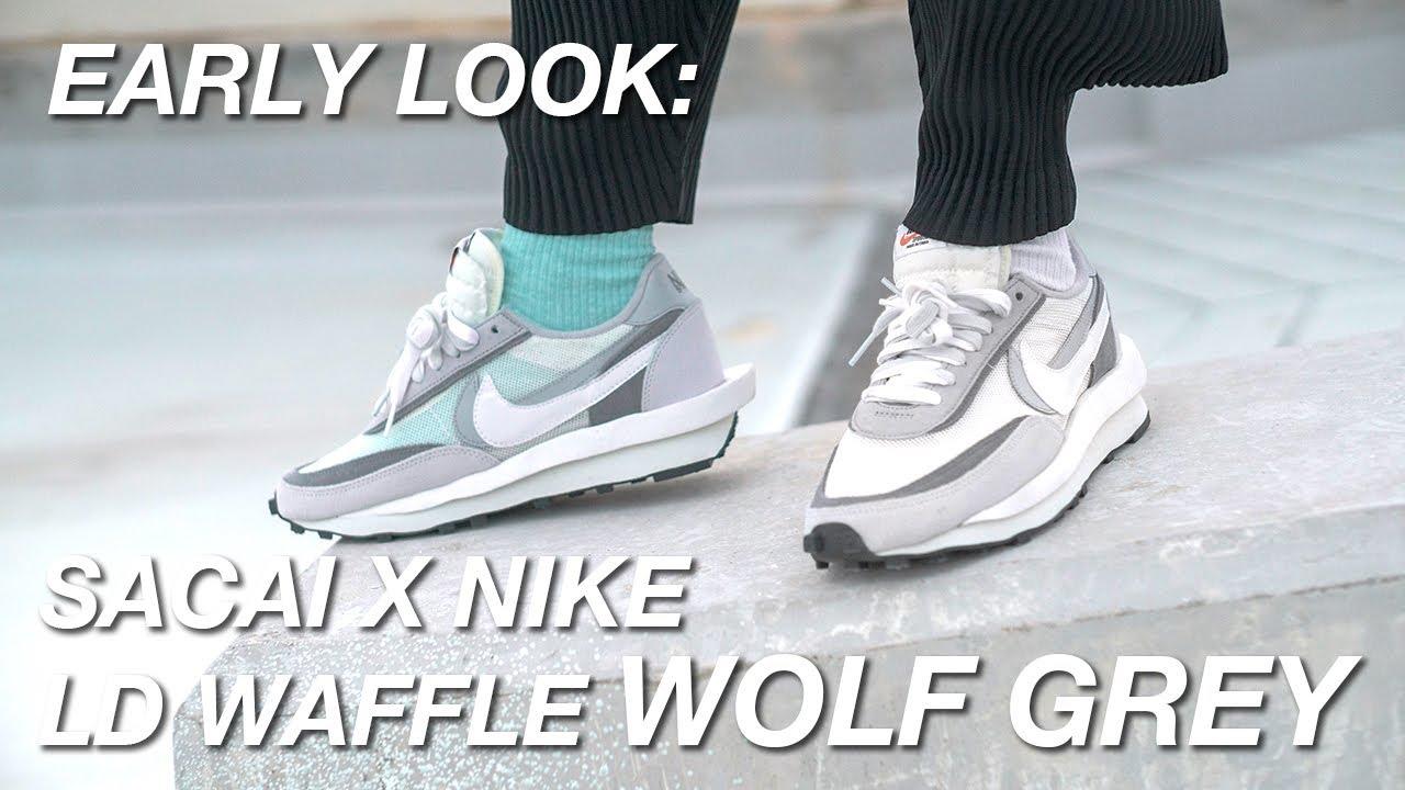 arrendamiento Injusto Incidente, evento  Early Look: Sacai x Nike LD Waffle Wolf Grey - YouTube