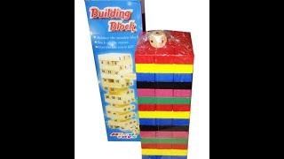 Обзор игра Дженга падающая башня 54 цветные бруска +кубик