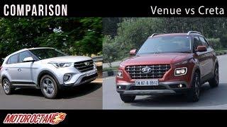 Hyundai Venue vs Hyundai Creta comparison | Hindi | MotorOctane