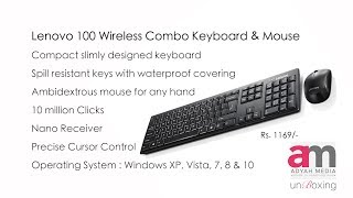 Lenovo 100 Wireless Combo Keyboard & Mouse Unboxing
