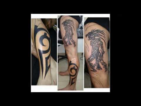 tatuaje guerrero azteca tribal muslo y pierna