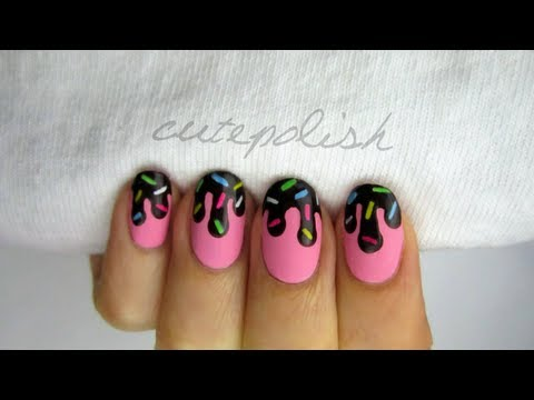 Chocolate Sauce & Sprinkles Nail Art