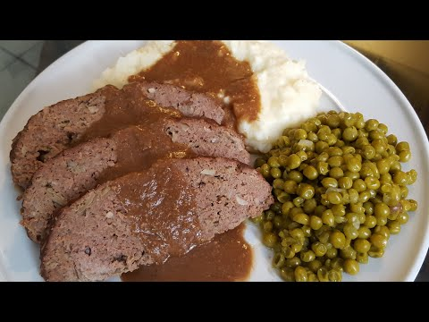 How to make Meatloaf with MashedPotatoes, Brown Gravy and Peas