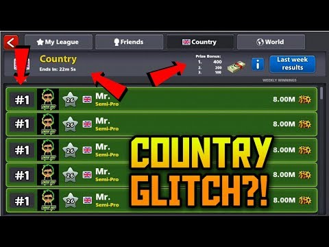 8 Ball Pool - INSANE COUNTRY GLITCH - Low country Glitch - Topping weekly league