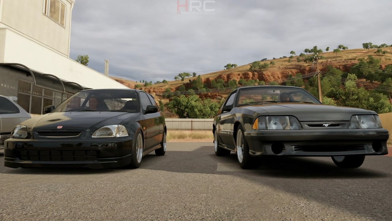 Forza Horizon 3 1V1 Street Battle Pt 2 Import Vs Domestic K20 Ek Hatch Vs 302 Foxbody Mustang