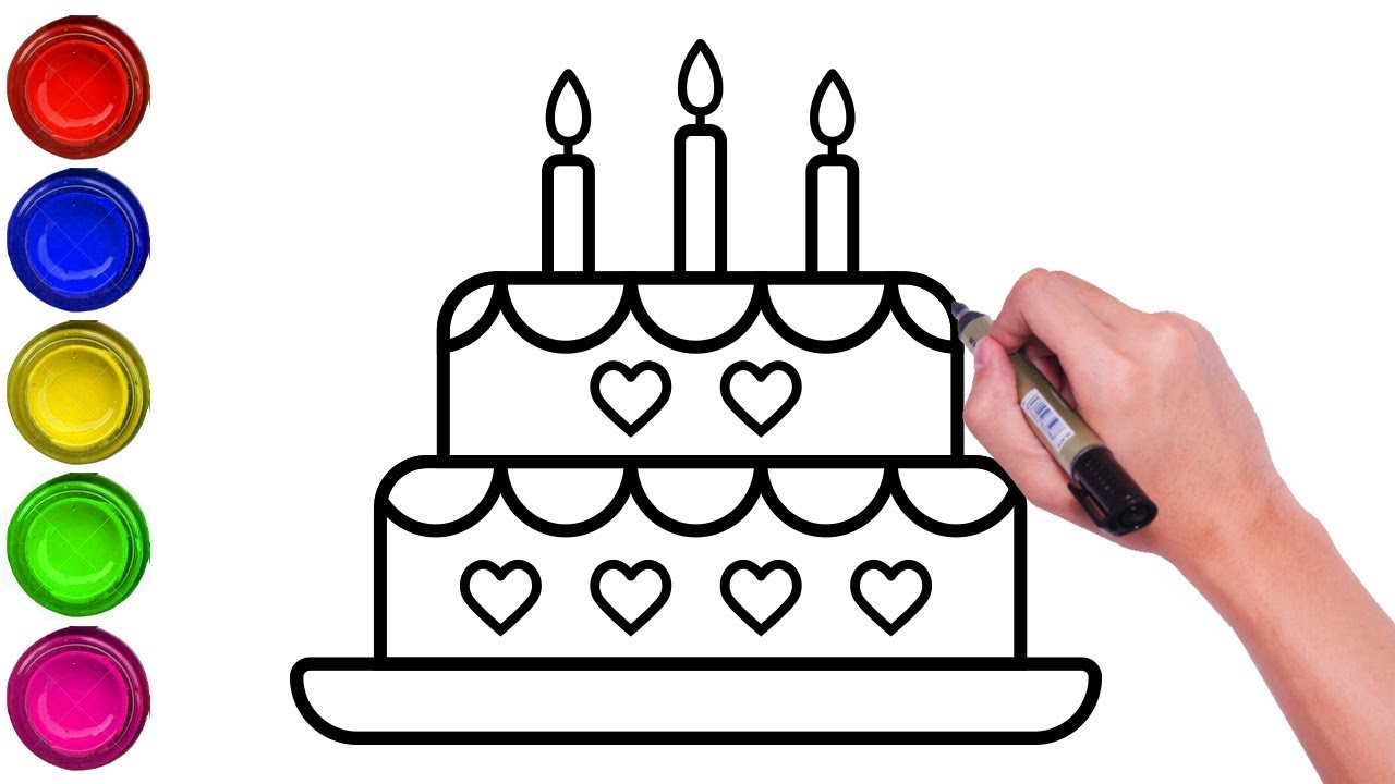 How To Draw Birthday Cake For Kids Step By Step Drawing Of Cake For Kids Easy Cake Drawing Youtube