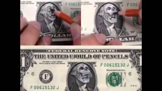 Badass Drawing on a dollar Bill