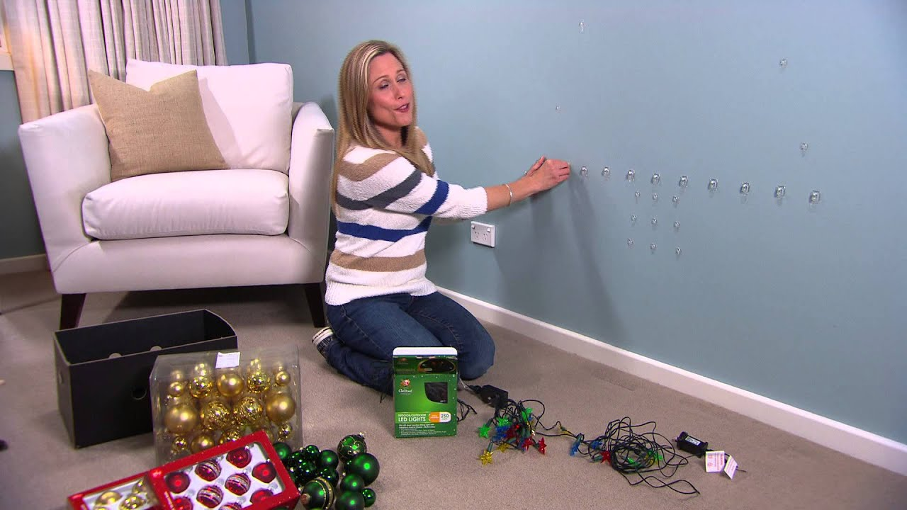 Christmas light tree for your walls by tara dennis youtube How to hang garland on a christmas tree