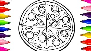 How to Draw Cheesy Pizza Coloring Book for kids Learning Colors for Children with Colored Marker