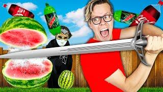 Giant Fruit Ninja in Real life Challenge to Find Matt's Missing Memories!
