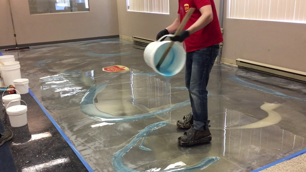 How To Do Amazing Metallic Epoxy Floor YouTube - Garage floor tracks