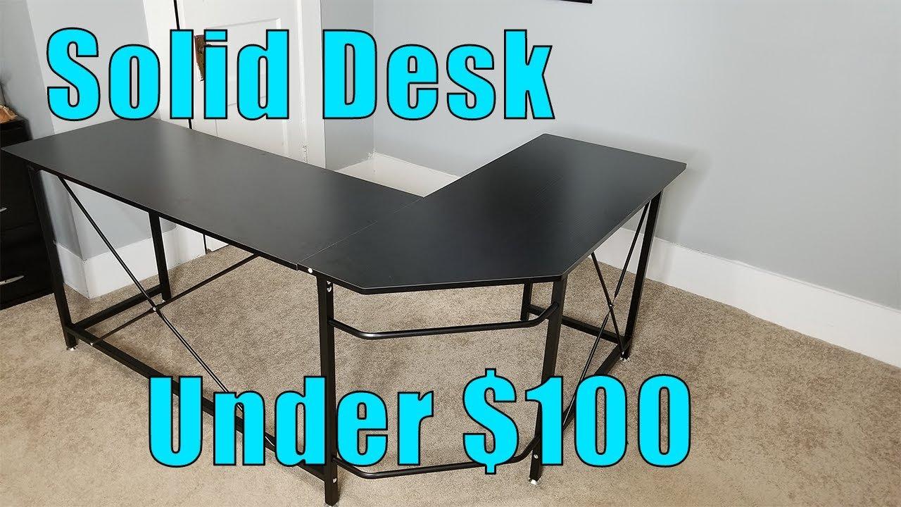A Great Desk Under 100 Aukey L Shaped Corner Desk Setup And