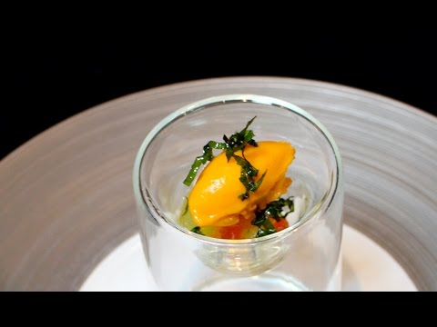 2 Michelin starred chef Markus Glocker's Tomato Ice Cream, Compressed Melons and Fried Basil