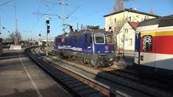 4K ACHTUNG Gleislatscher in Lindau HBF und gemischter Zugverkehr mit SBB CFF FFS blauer Werbelok
