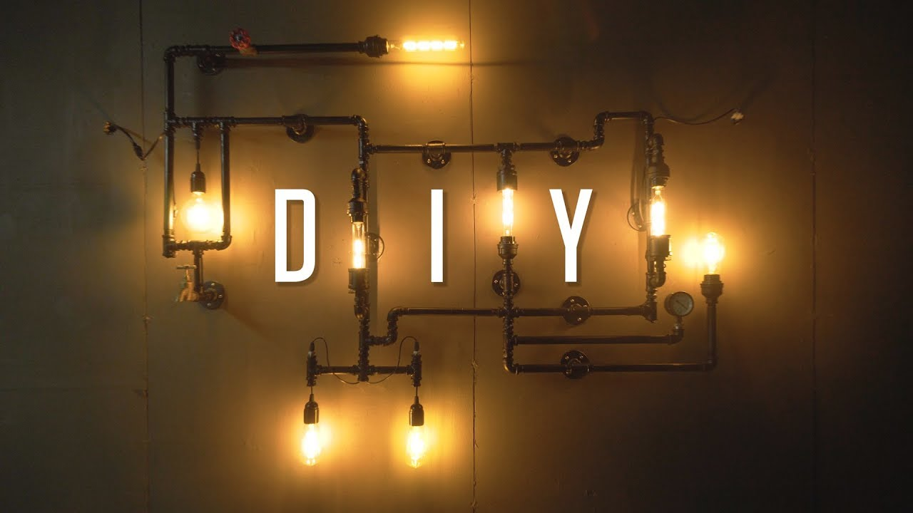 DIY Industrial Wall Pipe Lamp Tutorial / Build Guide - YouTube