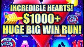 ★INCREDIBLE $1K+ HUGE BIG WIN RUN! TAX FREE!★ ❤️ MORE MORE HEARTS Slot Machine Bonus