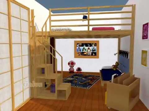 Progetti 3D di soluzioni con Letto a Soppalco di Cinius - YouTube