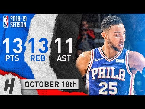 Ben Simmons Full Triple-Double Highlights vs Bulls 2018.10.18 - 13 Pts, 13 Reb, 11 Ast in 3 Qtrs!