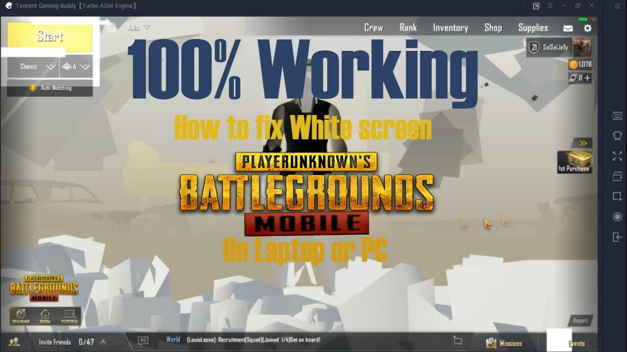 How to fix white screen with PUBG Mobile on Laptop Or PC