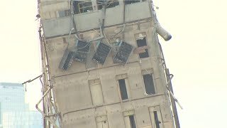 Day 2: Crews use crane to remove 'Leaning Tower of Dallas'