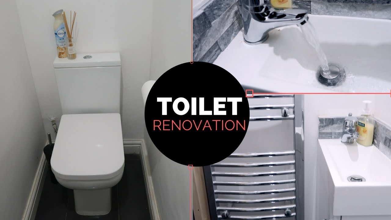 Under Stairs Toilet Renovation Youtube   Under Stair Toilet Design   Toilet Separate   Small   Powder Room   Down   Minimalist