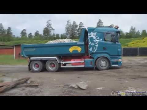 Scania dump truck tipping construction debri