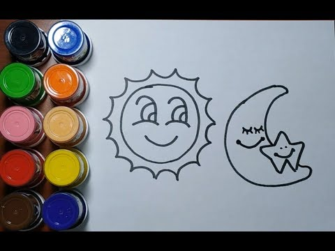 Cómo Dibujar Y Colorear Sol Y Luna Dibujos Para Niños Learn Colors Baron