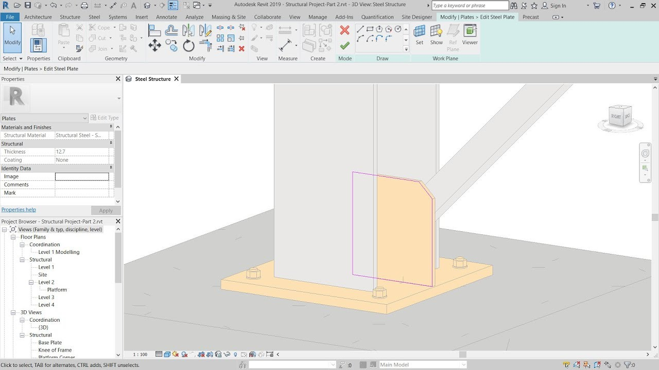 2 - Revit 2019 – Create Custom Steel Connections (example 1)