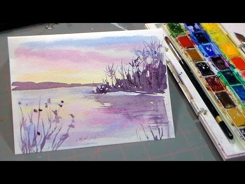 Thumbnail: Easy 3 Color Watercolor Sunset