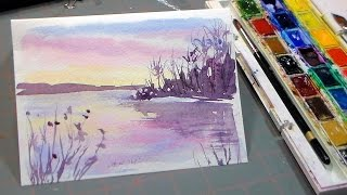 Easy 3 Color Watercolor Sunset