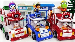 Minions stole Pororo police car! Let's go Tuktakman police car, fire truck, ambulance! #PinkyPopTOY